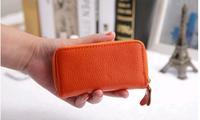 2014 NEW design high quality zipper 100% Genuine Leather women men key wallet handbag casual solid 10 color key bag bags wallets