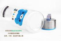 500ml portable transparent Cartoon Bear steel cover cup - blue  color