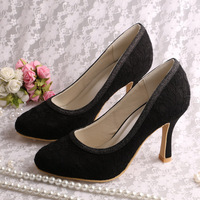 (13 Colors)Custom Handmade Top Selling Black Lace Bridal Shoes Heels Pumps Women Free Shipping