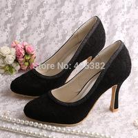 (13 Colors)Custom Handmade Top Selling Black Lace Bridal Shoes Heels Pumps Women Free Shipping