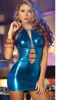 2014 Free shipping  sexy lingeri fake leather/sexy dress clubwear/DS dancing dress CXWC-2160