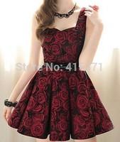 New Style Elegant Rose Print Sweetheart Neckline Sleeveless Pleated Dress For Women In Summer Women's New Fashion Tank Dress
