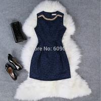 Hot summer European style round neck sleeveless dress elegant dress sexy Slim Tank dresses