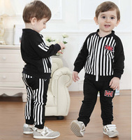 2014 new boys flag stripes two sets of autumn leisure suit + long-sleeved striped trousers children's clothing set