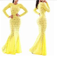 Brand New Women Sexy Lace dress Maxi Long Hollow Out Mesh Evening Party Dress Elegant Mermaid Bandage Bodycon Club Wear