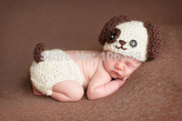 Baby Infant Knitted Puppy Dog Costume Set Newborn Photo Props Crochet Puppy Dog Hat and Diaper Cover Outfit 1set H068