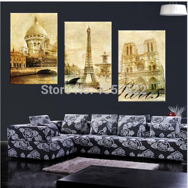 3 Piece Large Canvas Oil Paintings Modern Wall Painting Eiffel Tower Paris Landscape Home Decor