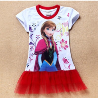 2014 new 2-8yrs frozen girls dress kid cartoon girl dress 2014 summer girls tutu princess dress attractive girl