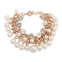 2014 New Luxury Pearls Crystal Refinement Tassel Style Design Statement Charms Bracelets&Bangles Fashion Women Jewelry