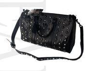 High quality brand name MMMMM black leather Rivet bag