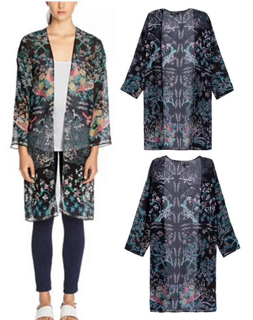 2014 das mulheres étnico Birds & cópia Floral manga comprida solta Kimono Cardigan longo jaqueta blusa camisas protetor solar(China (Mainland))