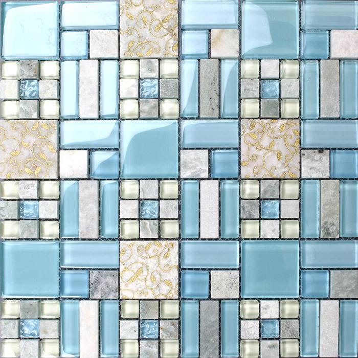 Nouvelle pierre ciel bleu carreaux de verre dosseret de cuisine salle de bain - Carreaux muraux cuisine ...