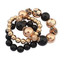 2014 New Luxury Beads Flowers Refinement Three Layers Design Statement Charms Bracelets&Bangles Fashion Women Jewelry