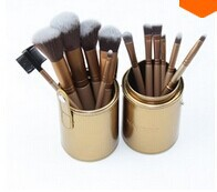 Whole sell price New 2014 Gold Professional Makeup Brushes Set 12 pcs Kit w/ Leather Cup Holder Case kit
