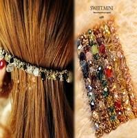 T52   multi-colored irregular crystal gem golden hairpin hair wedding tiaras for brides wedding tiara