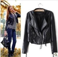 Free Shipping  PU Leather Women Biker Blazer Slim Fit Large Pocket Coat Black Leisure Suit Lady Jacket 2014 New Arrival  A938