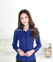 Plus Size Elegant Blue 2014 Spring And Autumn Formal Professional Business Women Work Wear Blouses Office Uniform Tops