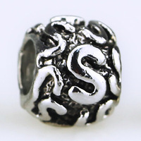 Big Hole Silver Color Love Kiss Alphabet Letter Beads Charm fit for DIY Pandora Snake Chain Jewelry Bracelet