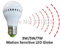 Free Shipping Motion Sensor LED Bulb Light Globe 3W 5W 7W 80LM/W  180-250V