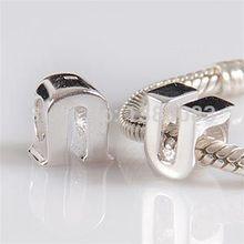 1PCS lot diy alphabet U Charm Beads 925 sterling silver jewelry Fits European Pandora Style Bracelets
