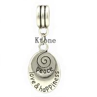 2 Pieces/lot , 2014 New Arrival 925 Silver Beads,Peace,Love,Happiness Pendants Fit Pandora Charms Bracelets , SPP032