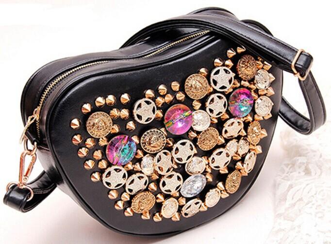 personality women rivet shoulder bag button women handbag heart style small bag bucket messenger bag free shipping(China (Mainland))