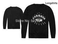 Free shipping new fashion 2014 men's big eyes print cotton thin sweatshirt long sleeve clothing hip hop sweater 9 styles