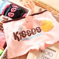 2014 New summer autumn women underwear kisses brand full cotton boxer letter print girls lolita panties sexy underwear briefs