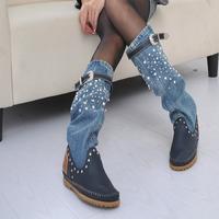 New Fashion denim pearl casual fashion tall Full Grain Leather boots.women's shoes martin jeans botas femininas Genuine leather