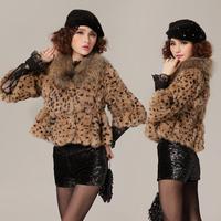 Female luxury elegant leopard print fur coat rabbit fur senior raccoon fur winter faux