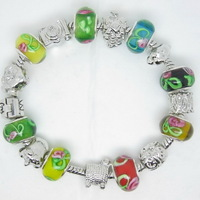 PH085 Newest Arrival European Style 925 Silver Crystal Charm Bracelet for Women With Murano Glass Beads DIY Jewelry