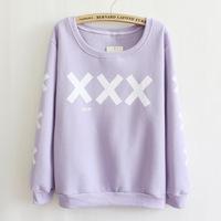 New harajuku personalized prints round neck fleece sweatshirt women's sweaters fashion