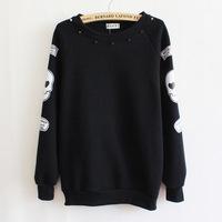 The new harajuku version of personality skull rivet round neck fleece sweatshirt women's sweaters fashion