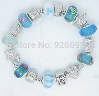 PH086 Alibaba Hot Sell Fish Charm Chamilia Bracelet Bangle 925 Silver Murano Glass For Women Fashion European Style Jewelry