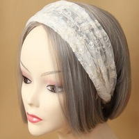 Handmade Womens Wide 2 Layer Lace Flower White Flower Bungee Hair Band Elastic Headband Head Wrap Boho Wedding Dance Gift Lolita