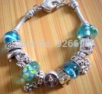 PH091 Alibaba Express Fashion European Style 925 Silver Charm Bracelets Bangles with Murano Glass Beads DIY Fashion Jewelry