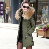 2014 winter plus size clothing down coat Medium-long fur collar women outerwear Winter women's 2014 slim jacket outerwear female