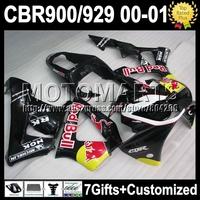 7gifts For HONDA 00 01 CBR Black yellow 929 929RR CBR929RR 900RR HOT K6545 CBR900RR 2000 2001 Yellow red CBR929 RR ABS Fairing