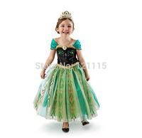 New Arrival 2014 summer new green evening Forzen girls dress fantasy princess dress children beautiful dress ELSA ANNA