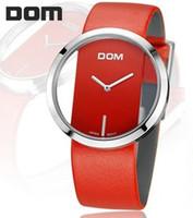 2014 Brand new DOM LP-205L simple fashionable quartz watches women waterproof  Cute Genuine cow leather belt women dress watches