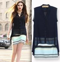2014New Fashion  women  elegant color striped V-neck Two-piece Dresses vintage casual slim quality Brand designer dress