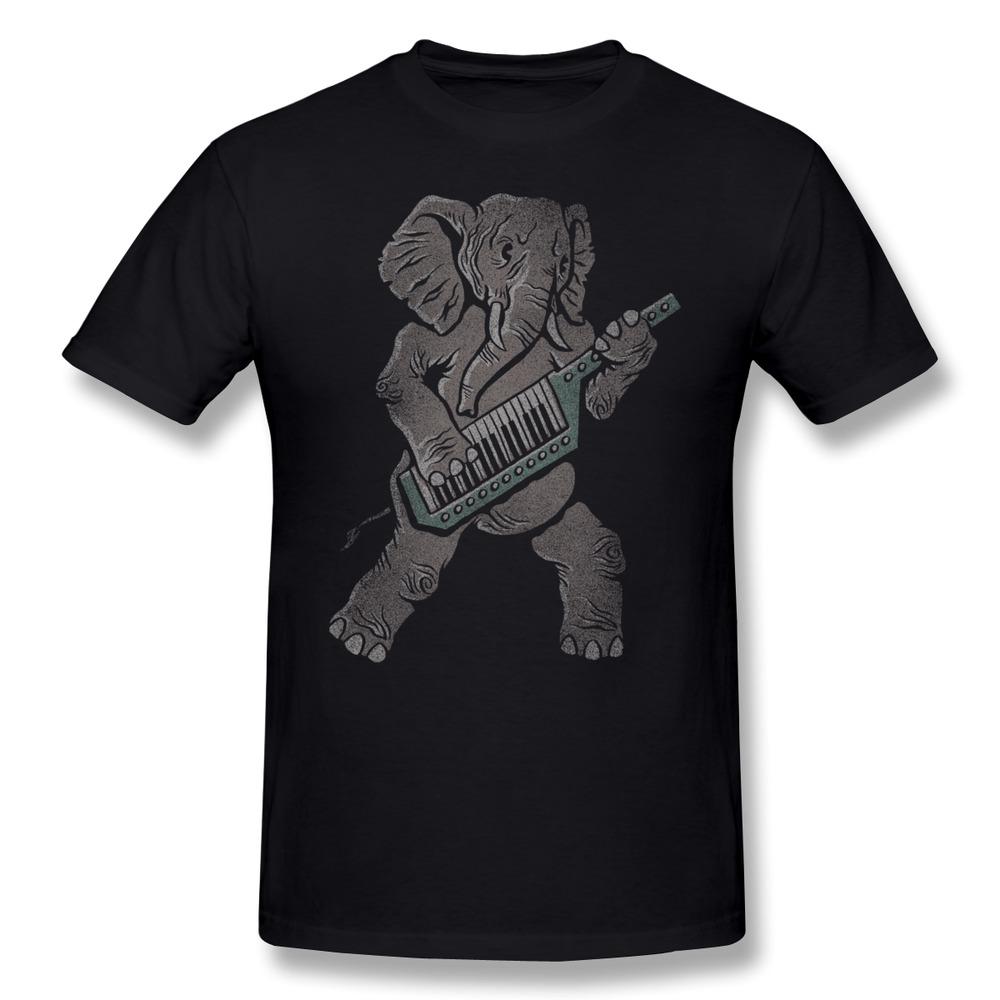 New 2014 Solid Mens T Shirt elephant DJ Guitar Trunk Rock Design Pics TShirts Man Slim Fitted(China (Mainland))