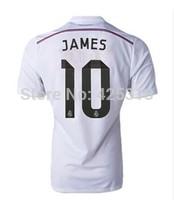 James NO.10 New 14-15 Real Madrid Shirt SERGIO RAMOS RONALDO BALE ISCO White Pink Top Thailand quality soccer jersey Football
