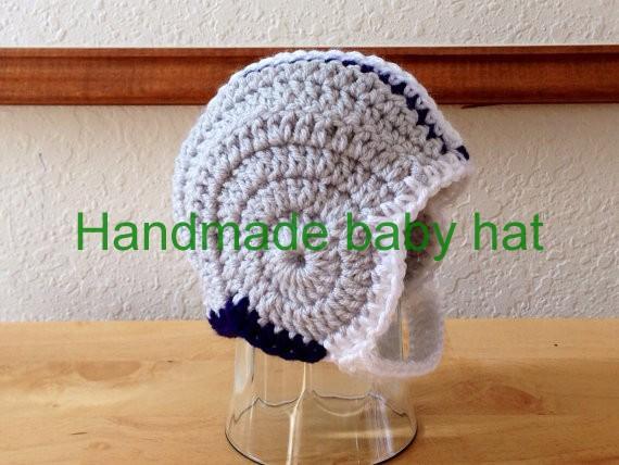 Free shipping Crocheted Newborn Football Helmet hat baby Photography Prop(China (Mainland))