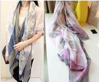 50% discount 2014 new fashion woman's Vintage fresh blue  white porcelain scarf fluid cape dual female autumn and winter women's
