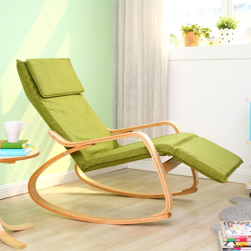 Daleo casa ikea style solid wood single fabric fashion casual rocking chair r - Fauteuil rockincher ikea ...