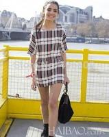 Seiko cool summer new fashion silk dress printed short-sleeved plaid dress brand women dress OL