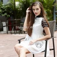 New top-end European and American women's pleated summer dress elegant hollow collar short-sleeved dress dolls