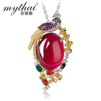 925 silver plated sweater chain pendant Character ruby corundum peacock pendant
