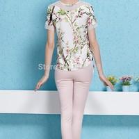 Counter genuine summer new fashion print chiffon shirt + pant stitching pencil pants Women suit